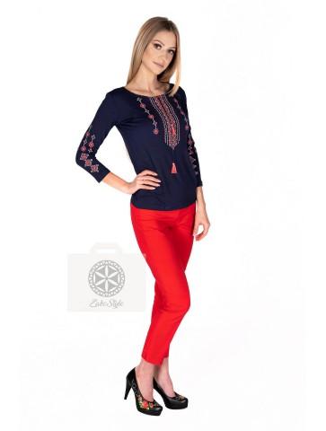 bluzka czerwony haft krzyżykowy