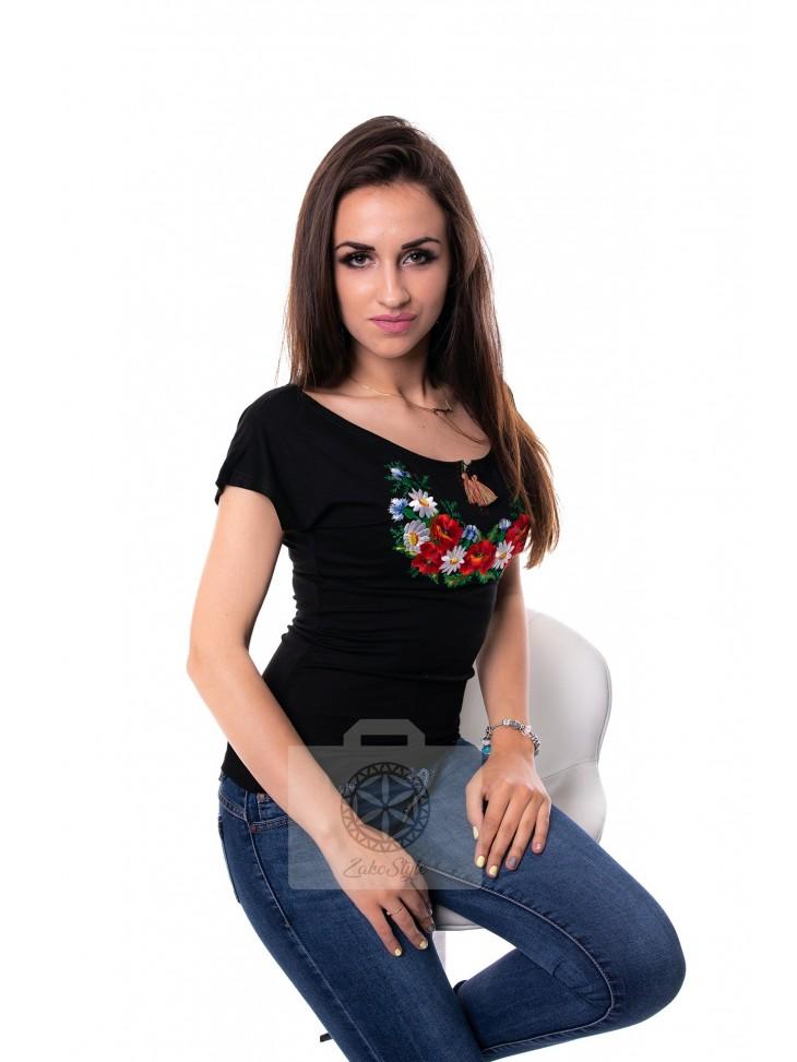 bluzka haft polny krótki rękaw czarna