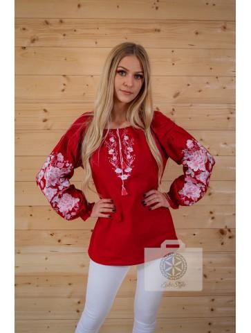 bluzka haftowana czerwona