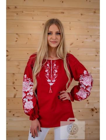 bluzka etno haftwowana czerwona
