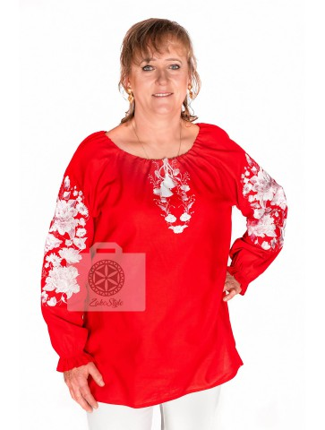 bluzka lniana haftowana plus size