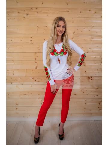Bluzka folk góralska w haftowane róże, ludowa