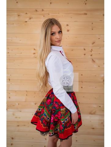 Czerwona spódnica góralska w kwiaty Cleo
