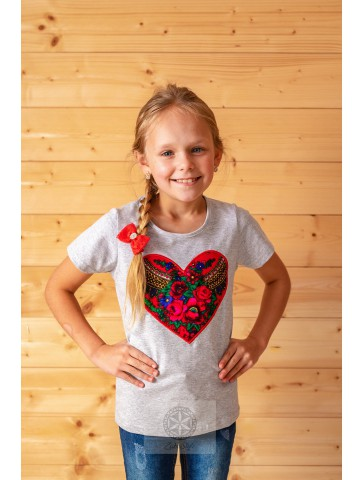 Koszulka dziecięca serce szara