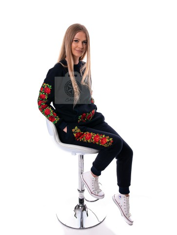 bluza haftowana granatowa