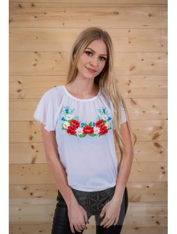 bluzka żorżeta haft polny kwiat folk k.rękaw