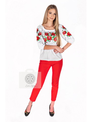 bluzka płótniana haftowana w róże