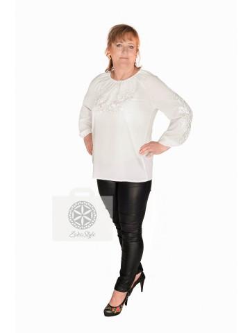 bluzka haftowana biała z białym plus size