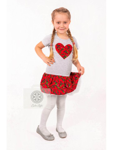 Sukienka serce krótki rękaw